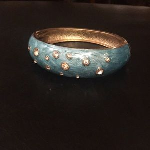 Blue and gold bangle bracelet antique
